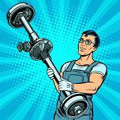 Male Car Mechanic And Rear Axle Vehicle. Pop Art Retro Vector Illustration Comic Cartoon Kitsch Draw poster