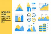 Infographic Vector Element Set. Color Business Graph Report, Information Data Statistic. Bar Graph,  poster
