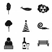 Snow Journey Icons Set. Simple Set Of 9 Snow Journey Vector Icons For Web Isolated On White Backgrou poster