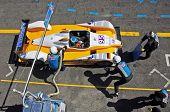 ESTORIL - SEPTEMBER 25: The FLM Oreca 09 of the Pegasus Racing Team, stops in the pit-lane for refue
