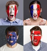 Emotional Soccer Fans With Painted Flags Of France, Australia, Peru And Denmark On Faces. Rooters Of poster