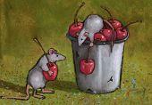 Mice Stealing Cherries: Oil Pastel Art