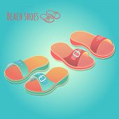 Isometric 3D Illustration Of Colorful Womens Shoes. poster