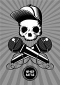 Raper. Hip-hop Battle Music Poster With Skull And Microphones. Rap Show Vector Illustration. poster