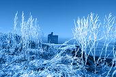 Christmas Season View Of Ballybunion Castle And Beach In Blue Snow