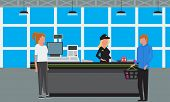 Big Supermarket Or Mall Interior. Scene Inside Of Shopping Mall People Standing At Cashier. Vector I poster