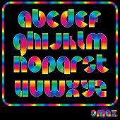 Rainbow Alphabet, Multicolored Shiny Vector Font, available all letters