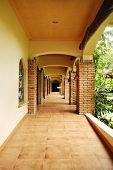 rustic courtyard hallway