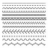 Stitched Seamless Borders, Sewing Machine Seams For Fabric Structure Vector Set Isolated. Illustrati poster