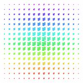 Flora Plant Icon Rainbow Colored Halftone Pattern. Vector Flora Plant Objects Organized Into Halfton poster