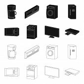 Home Appliances And Equipment Black, Outline Icons In Set Collection For Design.modern Household App poster