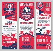 Football Sport Game Championship Match Banner Set With Soccer Ball, Trophy And Stadium. Sporting Are poster