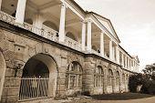 Palace in Tsarskoe Selo. Sepia.