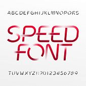 High Speed Alphabet Font. Wind Effect Type Letters And Numbers On Bright Background. Stock Vector Ty poster