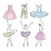 Sketch Vector Pictures Of Different Ballet Dancers. Hand Drawn Illustrations Of Ballerinas. Girl Dan poster