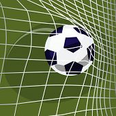 Scoring Goal. Soccer Ball Falls Into Net Of Football Goal. Win Or Lose Concept poster