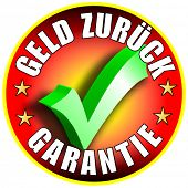 Money Back Guarantee Button/Label, german version,