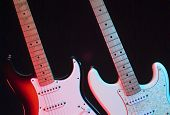 Two Electric Guitars On The Stage