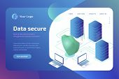 Digital Data Secure And Data Security Concept. Cyber Security Landing Page Template. 3d Isometric Ve poster