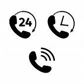 Phone Icon Set In Flat Style. Telephone Symbols Isolated On White Background. Handset Icon For Logo  poster