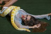 Snake Crawl On Woman With Long Hair. Sensual Woman Relax With Albino Python. Beauty Model With Makeu poster