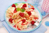 Ravioli (pierogi) With Cottage Cheese And Raspberry