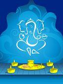 fundo abstrato design floral azul com Érico e vela acesa com placa do pooja para atmo