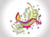 colorful elegant floral background with stylish diya for diwali celebration & other indian festival