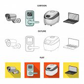 Home Appliances And Equipment Cartoon, Outline, Flat Icons In Set Collection For Design.modern House poster