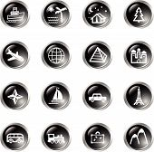 Black Drop Travel Icons poster
