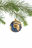 Blue And Gold Globe Christmas Ornament Showing Europe, Africa