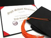 High School Diploma With Cap And Tassel