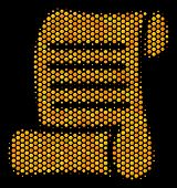 Halftone Hexagon Script Roll Icon. Bright Golden Pictogram With Honey Comb Geometric Structure On A  poster