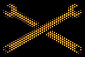 Halftone Hexagonal Wrenches Icon. Bright Gold Pictogram With Honeycomb Geometric Structure On A Blac poster