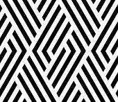 Abstract Geometric Pattern With Stripes, Lines. A Seamless Vector Background. White And Black Orname poster