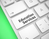 Online Service Concept: Education Services On The White Keyboard Background. Service Concept With La poster