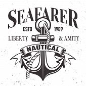 Sailor Vintage Label, Emblem Or Print In Monochrome Style Vector Illustration With Anchor, Rope And  poster