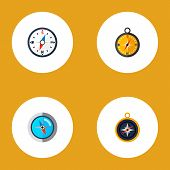 Icon Flat Direction Set Of Divider, Measurement Dividers, Compass And Other Vector Objects. Also Inc poster
