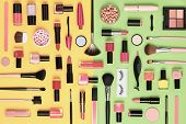 Fashion Cosmetic Makeup Set. Collection Beauty Products Accessories. Essentials. Layout. Trendy Desi poster