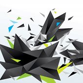 Modern Abstract Figure Of Black Triangles Surrounded Flying Splinters