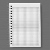 Realistic Notebook, Vector. A Notebook In A Ruler, A Notebook With A Shadow. poster