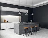 Contemporary Dark Kitchen Interior With Furniture And Equipment. Style And Design Concept. 3d Render poster