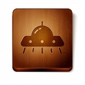 Brown Ufo Flying Spaceship Icon Isolated On White Background. Flying Saucer. Alien Space Ship. Futur poster