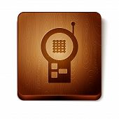Brown Baby Monitor Walkie Talkie Icon Isolated On White Background. Wooden Square Button. Vector Ill poster
