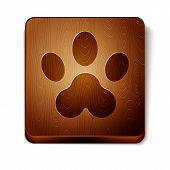 Brown Paw Print Icon Isolated On White Background. Dog Or Cat Paw Print. Animal Track. Wooden Square poster