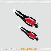Greek art stylized trampoline gymnasts do synchronized acrobatics
