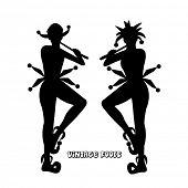 Vintage fool silhouettes
