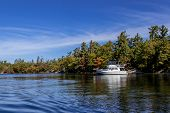 Boats Anchored In A Bay On A Beautiful Autumn Day On Georgian Bay, Ontario, Canada poster