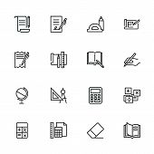 School Icons. Set Of Line Icons On White Background. Writing, Textbook, Geometry, Geography. Studyin poster