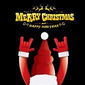 Vector Cartoon Santa Claus Rock N Roll Style With Golden Greeting Text On Black Background With Chri poster